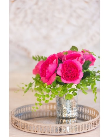 Garden Roses in Mercury Cup Flowers