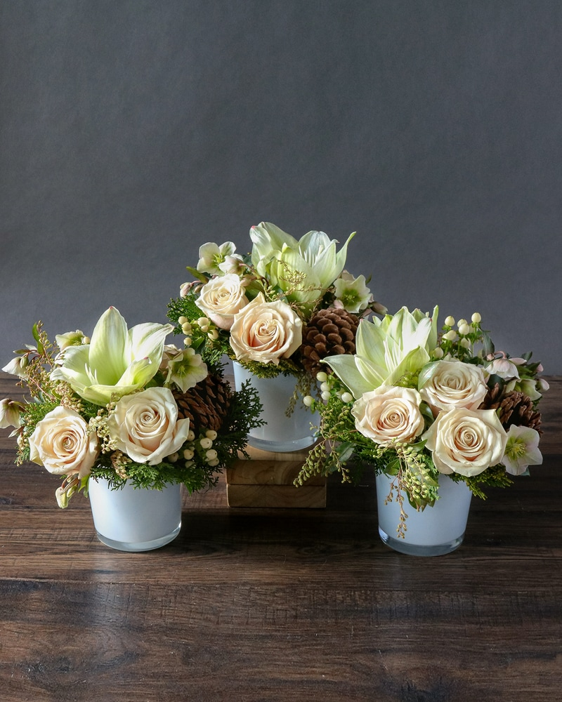 Evergreen & Ivory Trio Flower Arrangement