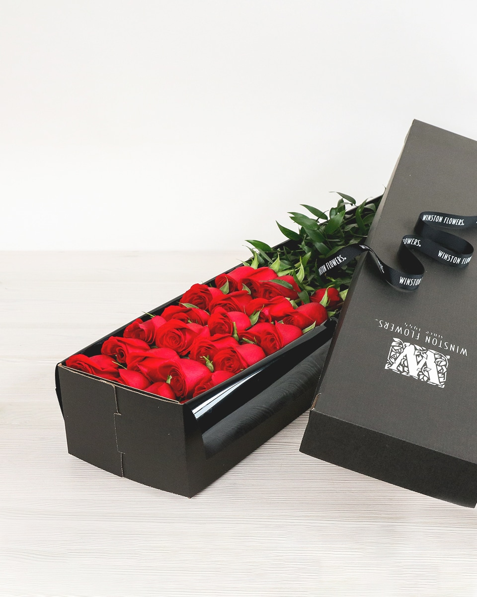 Two Dozen Long-Stemmed Roses in Box Flower Arrangement