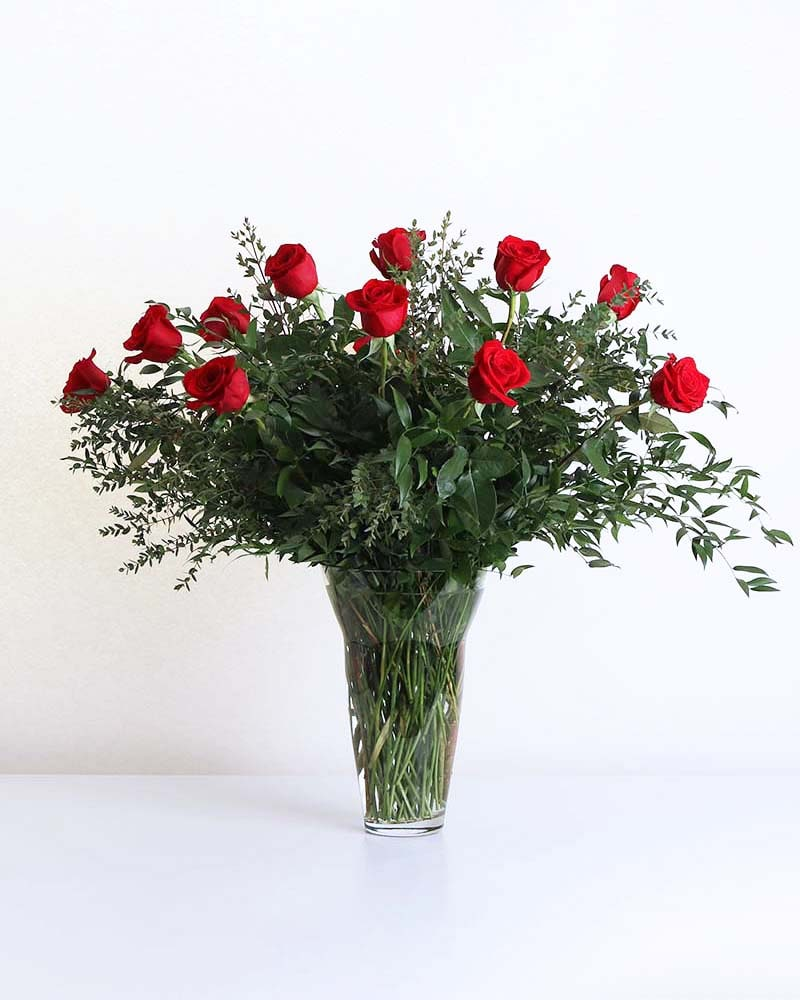 One Dozen Long-Stemmed Roses in Vase Flower Arrangement