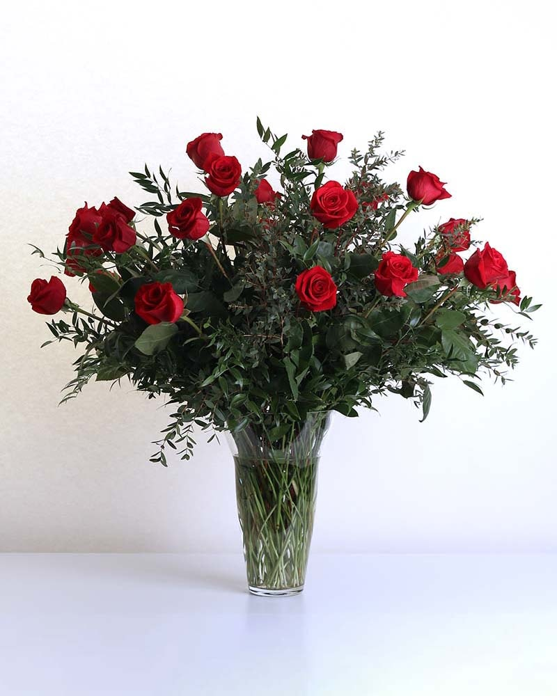 Two Dozen Long-Stemmed Roses in Vase Flower Arrangement