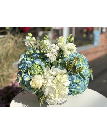 Designer's Choice - White and Blue Flower Arrangement