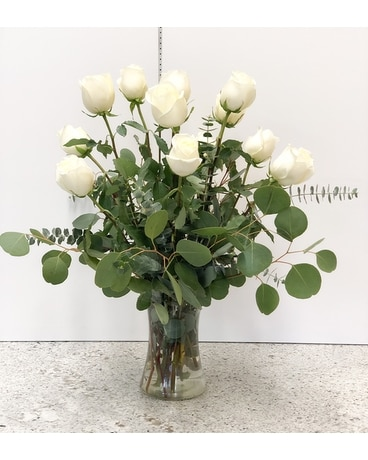 White Roses by the Dozen Flower Arrangement
