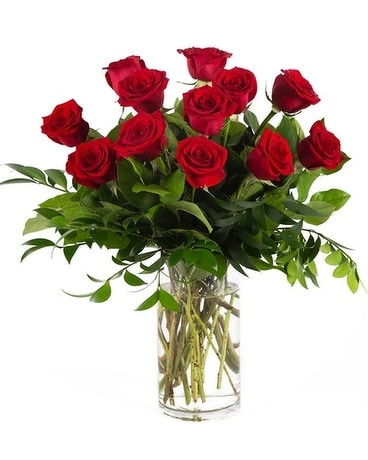 Classic Premium Dozen Red Roses Flower Arrangement