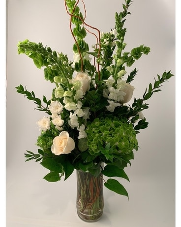 Classic Tall White & Green Flower Arrangement