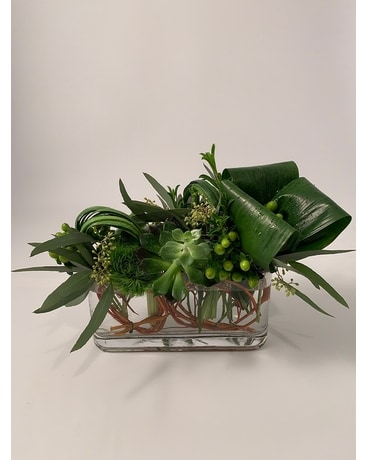 Modern Low Greens Flower Arrangement