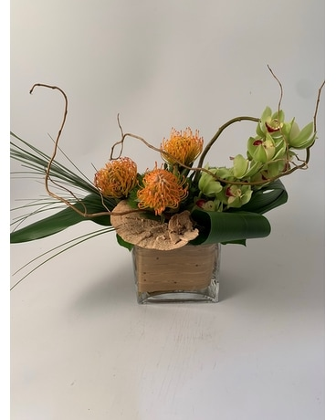 Tropical Low Square Flower Arrangement