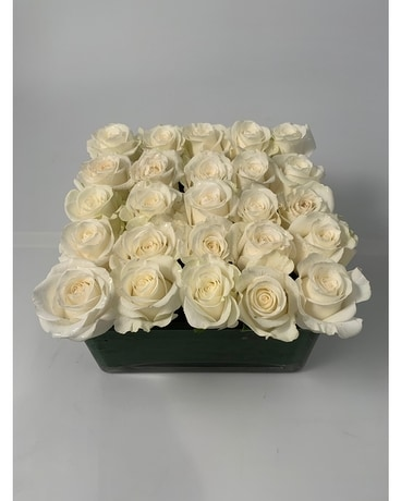 Rose Square - White Flower Arrangement