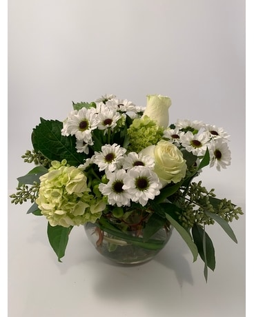 Classic Bubble White & Green Flower Arrangement
