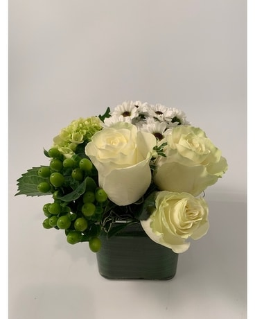 Urban Square White & Green Flower Arrangement