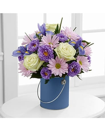 Blue Paint Can Flower Arrangement