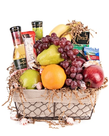 Fruit & Snack Basket Flower Arrangement