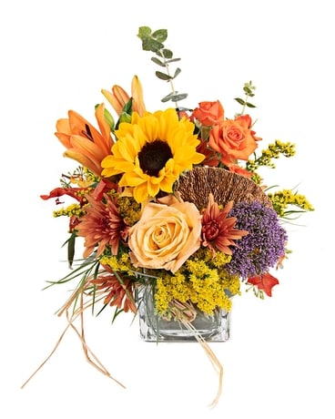 Falling For Autumn Cube Flower Arrangement
