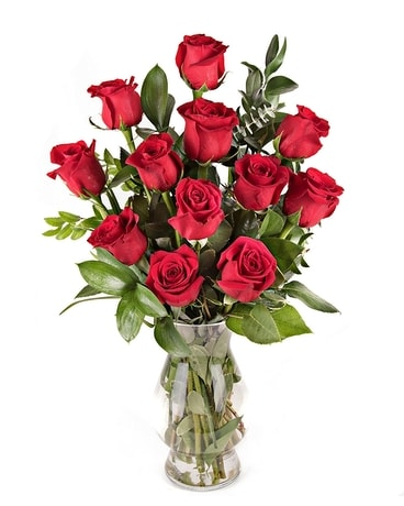 Classic One Dozen Medium Stem Red Roses Flower Arrangement