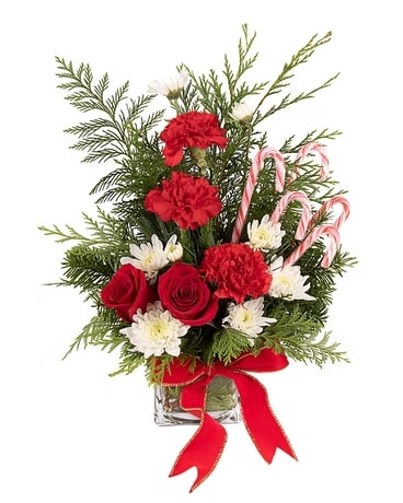 Candy Cane Cube Flower Arrangement