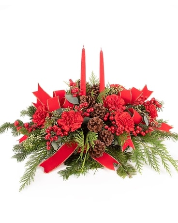 Classic Christmas Centerpiece Flower Arrangement