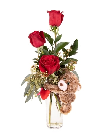 Beary Beautiful Budvase Flower Arrangement