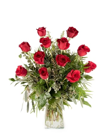 Classic One Dozen Longstem Red Roses Flower Arrangement
