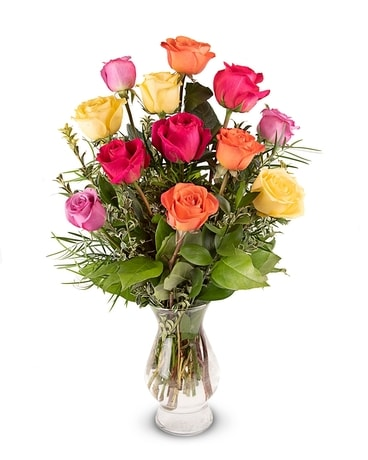 Radiant Rainbow Roses Flower Arrangement