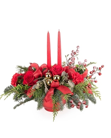 Christmas by Candlelight Centerpiece Flower Arrangement