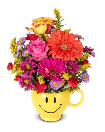 Oh Happy Day Smiley Mug Flower Arrangement