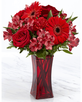 THE FTD® RED REVEAL™ BOUQUET- VASE INCLUDED Flower Arrangement