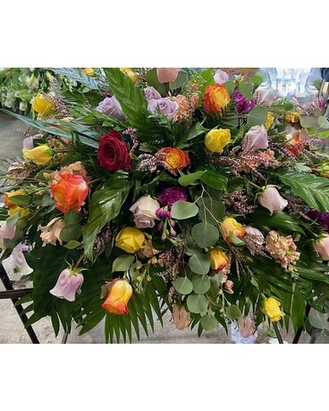 Multi Color Roses Casket Spray Funeral Casket Spray Flowers