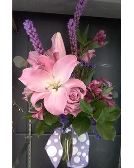 Lavender and Pink Flower Arrangement