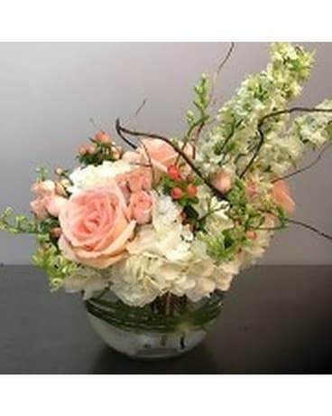Fresh Roses & Fluff Hydrangea Flower Arrangement