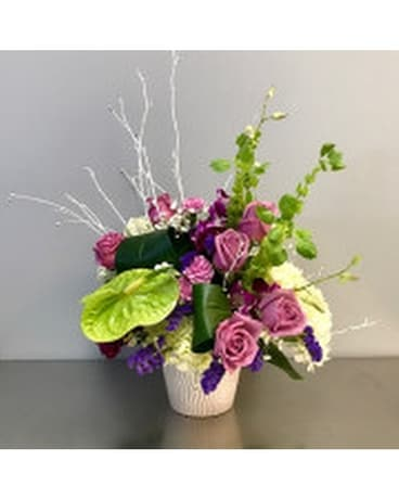 Modern Roses and Anthurium Arrangement Flower Arrangement