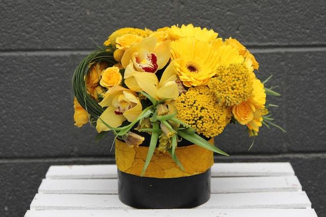 Hello yellow in las vegas nv flora couture hello yellow flower arrangement mightylinksfo