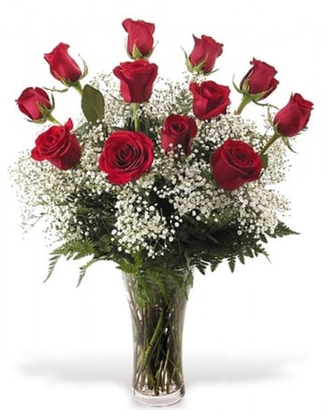 Classic Red Dozen Roses Flower Arrangement