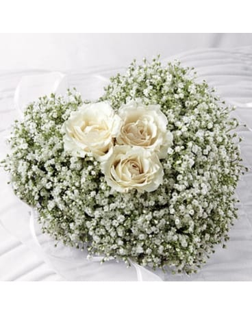 Babies Breath Heart Funeral Arrangement