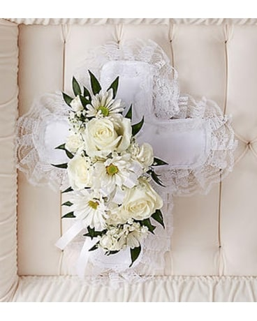 Cross Pillow Casket Insert Funeral Arrangement