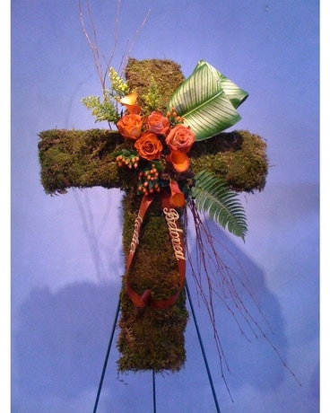 Rustic Cross Funeral Arrangement