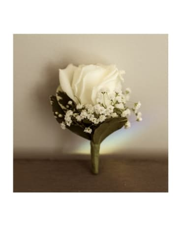 Rose Boutonniere with Babies Breath - $12.50 Flower Arrangement