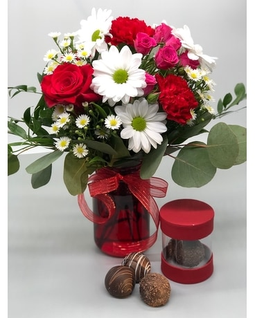 Vintage Jar & Truffles Flower Arrangement
