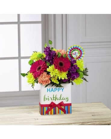 Birthday Brights™ Bouquet - VASE INCLUDED Flower Arrangement