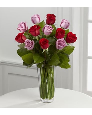 THE FTD® RED AND LAVENDER ROSE BOUQUET Flower Arrangement