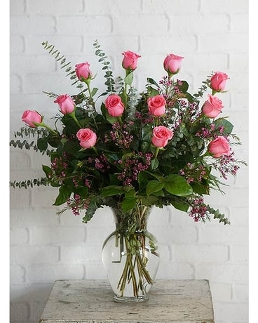 One Dozen Ultimate Pink Roses Flower Arrangement