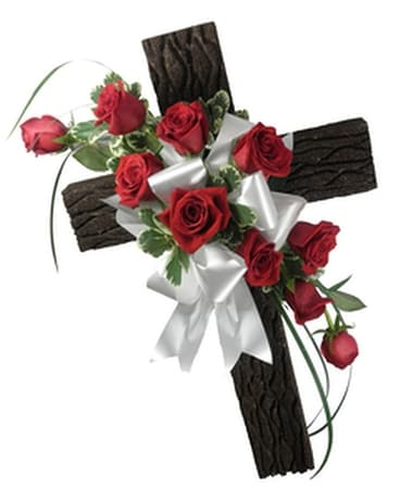 Rustic Memories Olde Rugged Cross with Rose Spray Funeral Arrangement