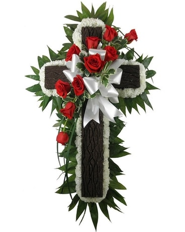 Rustic Memories Rustic Cross with Rose/Carnations Funeral Arrangement