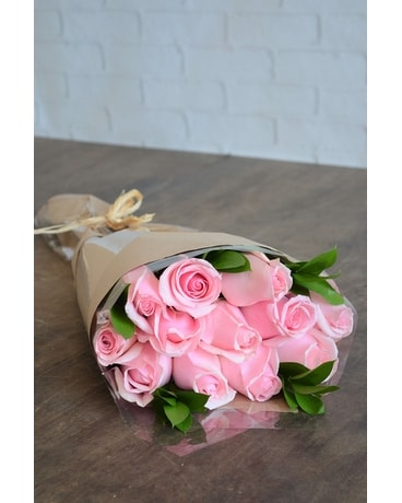 Wrapped roses in pink jennies flowers wrapped roses in pink flower arrangement mightylinksfo