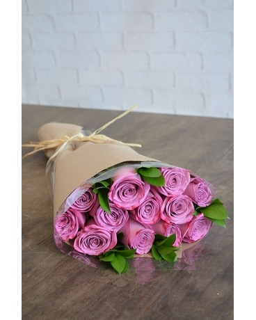 Wrapped Roses in Purple Flower Arrangement