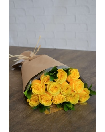 Wrapped Roses in Yellow Flower Arrangement