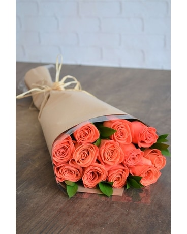 Wrapped Roses in Orange Flower Arrangement