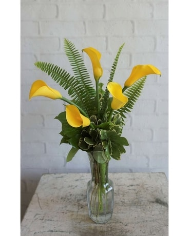 Friendship, Yellow Callas Flower Arrangement