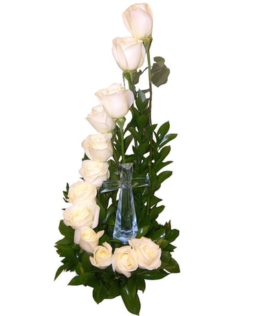 White stairway to Heaven Funeral Arrangement