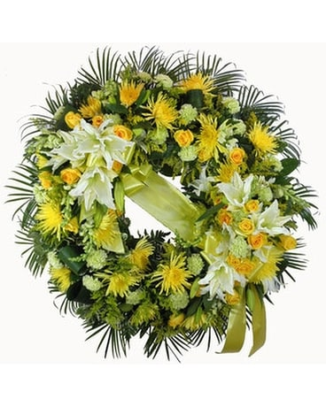 Sunshine Sentiments Wreath Funeral Arrangement