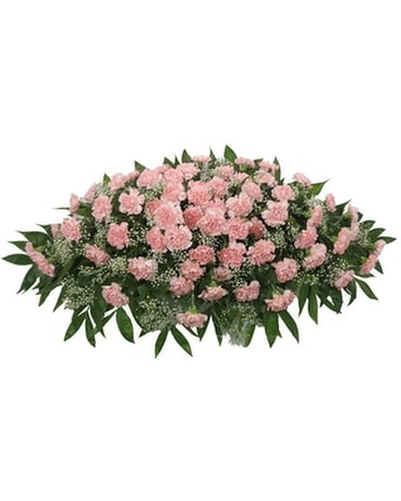 Pink Carnation Casket Spray Funeral Arrangement